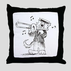 Catoons trombone cat Throw Pillow