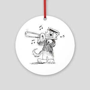 Catoons trombone cat Ornament (Round)