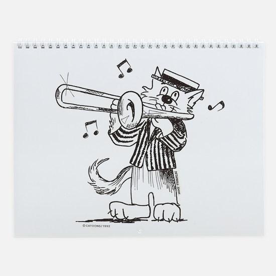 Catoons trombone cat Wall Calendar