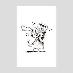 Catoons trombone cat Mini Poster Print