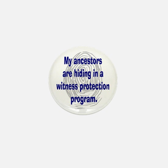 Genealogy's Witness Protection (blue) Mini Button