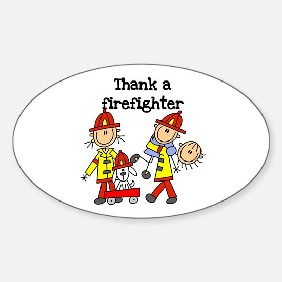Thank a Firefighter Oval Decal