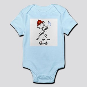 Basic Stick Figure Fireman Infant Bodysuit