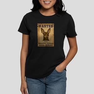 """""""Wanted"""" Miniature Pinscher Women's Dark T-Shirt"""