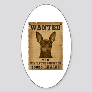 """Wanted"" Miniature Pinscher Oval Sticker"