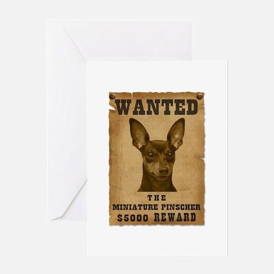 """""""Wanted"""" Miniature Pinscher Greeting Card"""
