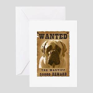 """Wanted"" Mastiff Greeting Card"
