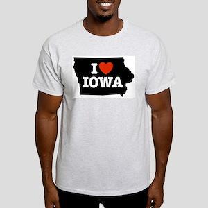 I Love Iowa Ash Grey T-Shirt