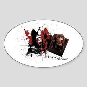 Chocolate Labrador Oval Sticker