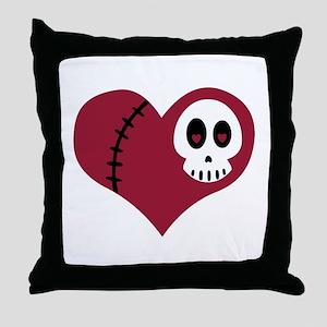 Skull Heart Throw Pillow