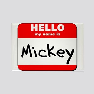 Hello my name is Mickey Rectangle Magnet