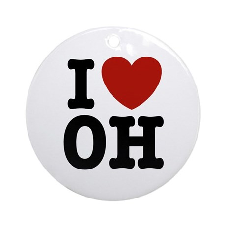 I Love OH Ornament (Round)