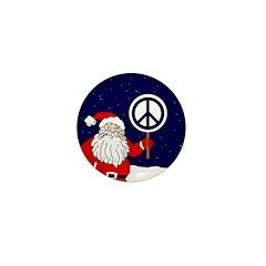 Santa Claus Peace Sign Mini Button