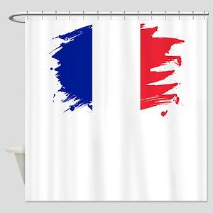 France Paint Splatter Flag French Shower Curtain