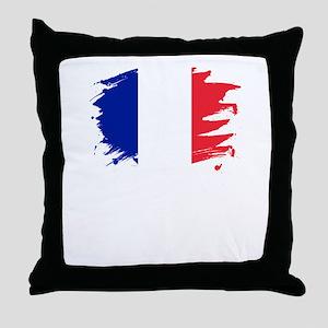 France Paint Splatter Flag French P Throw Pillow