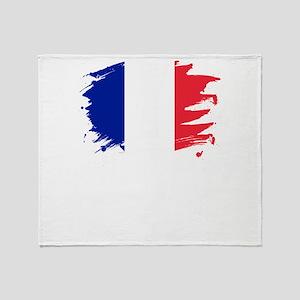 France Paint Splatter Flag French Throw Blanket