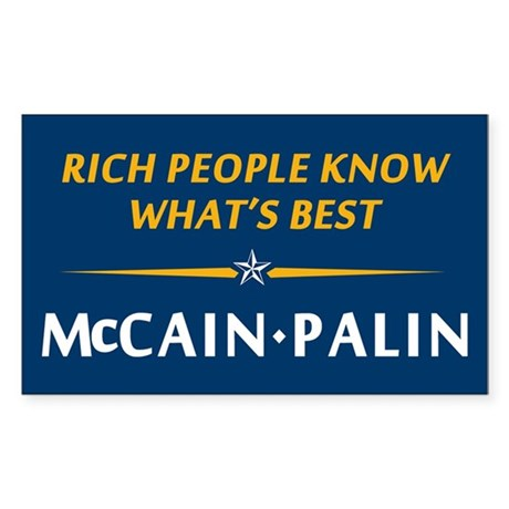Rich People Know Best Palin Rectangle Sticker