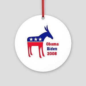 Obama Dem Donkey Ornament (Round)