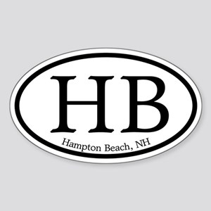 Hampton Beach HB Euro Oval Oval Sticker