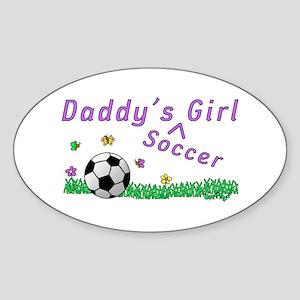 Daddy's Soccer Girl Oval Sticker