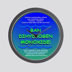 Funny Ban Dihydrogen Monoxide H20 Wall Clock