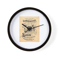 Lion Coffee Wall Clock