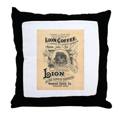Lion Coffee Throw Pillow
