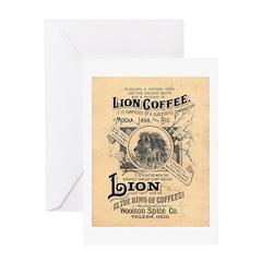 Lion Coffee Greeting Card
