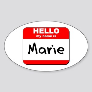 Hello my name is Marie Oval Sticker