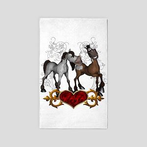 Best friends, cute cartoon horses Area Rug