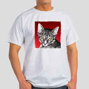 Pencil Tabby Red Background Light T-Shirt
