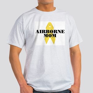 Airborne Mom Ribbon Ash Grey T-Shirt
