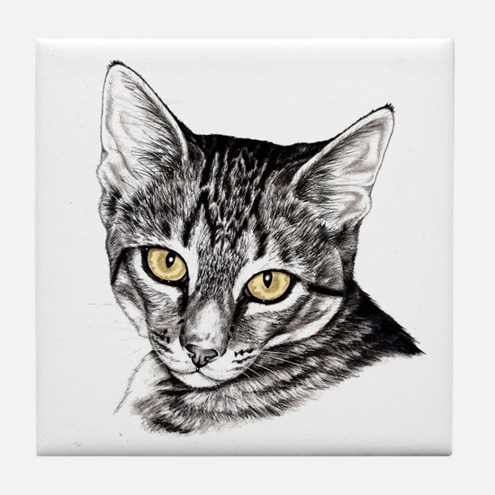 Penciled Tabby Tile Coaster