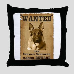 """Wanted"" German Shepherd Throw Pillow"