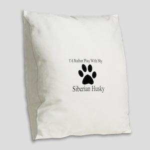 Siberian Husky Dog Designs Burlap Throw Pillow