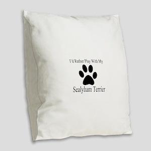 Sealyham Terrier Dog Designs Burlap Throw Pillow