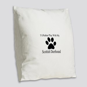 Scottish Deerhound Dog Designs Burlap Throw Pillow