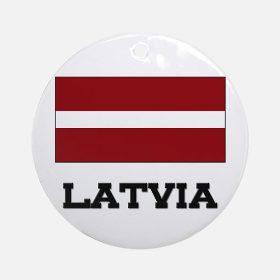 Latvia Flag Ornament (Round)