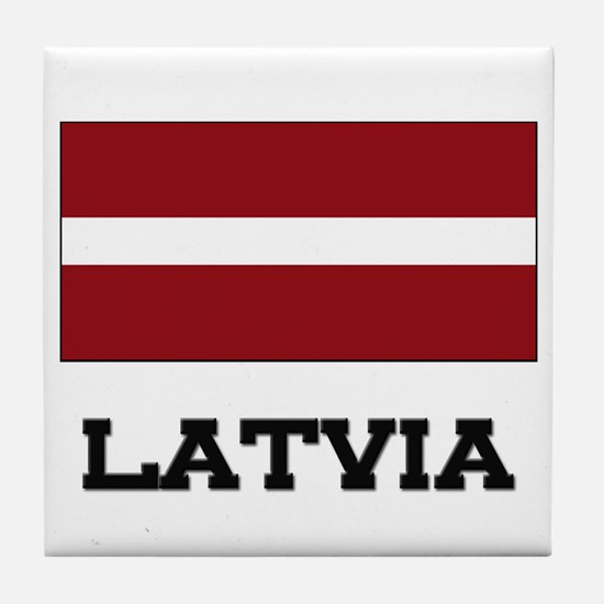 Latvia Flag Tile Coaster