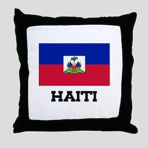 Haiti Flag Throw Pillow