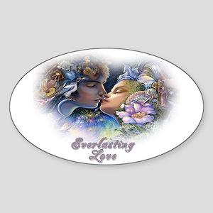 Everlasting Love Kiss Oval Sticker