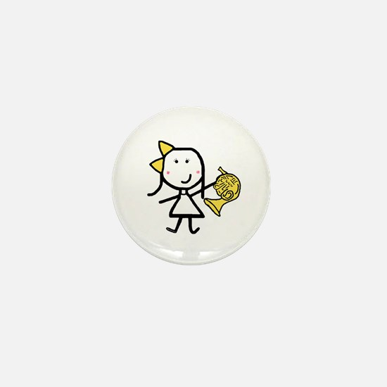 Girl & French Horn Mini Button
