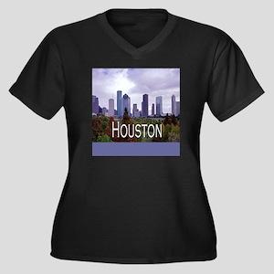 Houston 2 Women's Plus Size V-Neck Dark T-Shirt