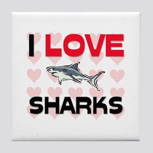 I Love Sharks Tile Coaster