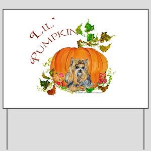 Pumpkin Yorkshire Terrier Yard Sign