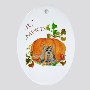 Pumpkin Yorkshire Terrier Oval Ornament