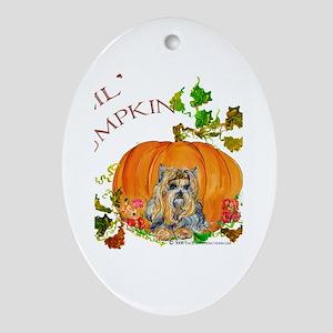 Pumpkin Yorkshire Terrier Oval Ornament
