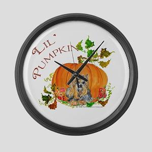 Pumpkin Yorkshire Terrier Large Wall Clock