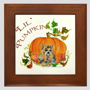 Pumpkin Yorkshire Terrier Framed Tile