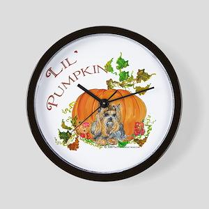 Pumpkin Yorkshire Terrier Wall Clock